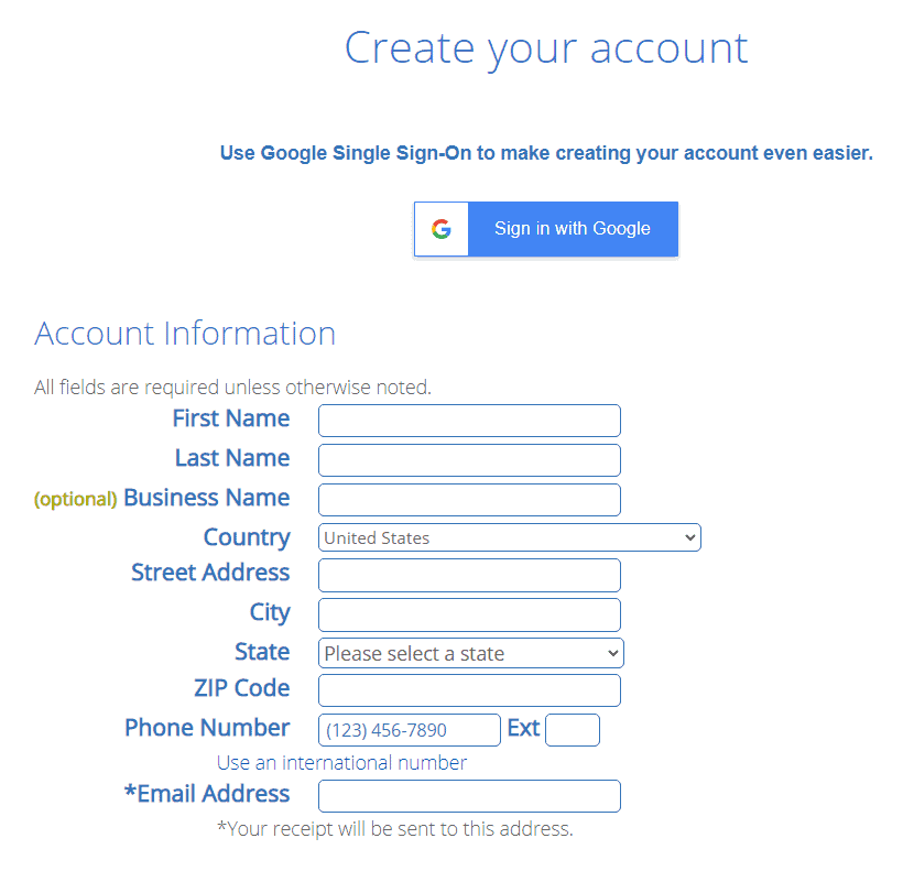 Creating account on Bluehost