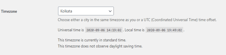 WordPress timezone settings