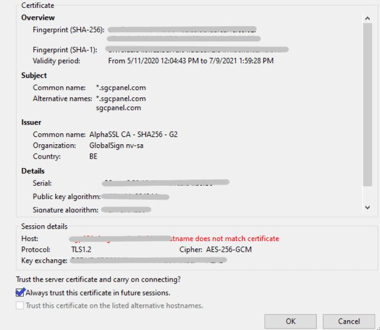 FTP client certificate