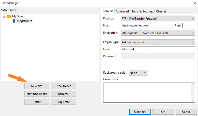 Connecting website to FileZilla FTP client