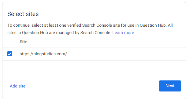 Adding Search Consol verified website to Question Hub