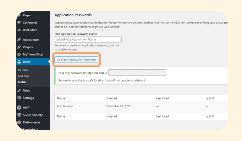 Activating application password for REST API
