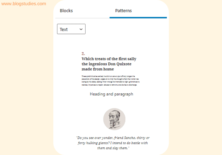 Improvements to the text category of block patterns