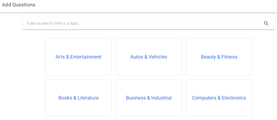 Select niche on Question Hub
