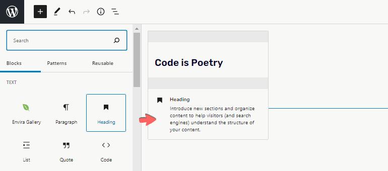 Block variation descriptions feature