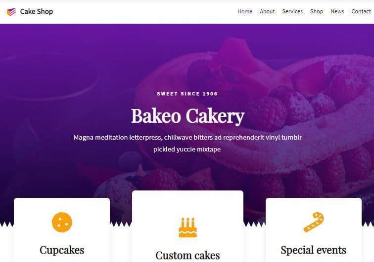 Cake Shop theme for WordPress bakery blog