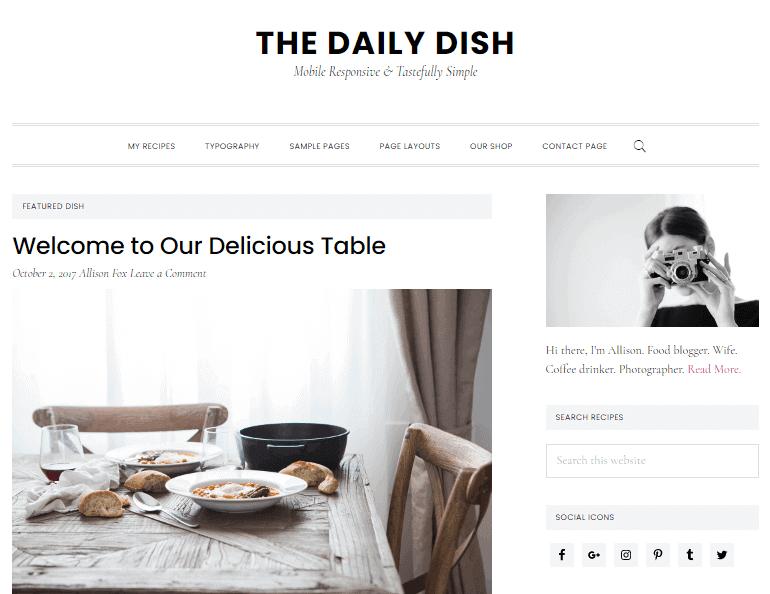 Daily Dish Recipe theme for WordPress recipe blog