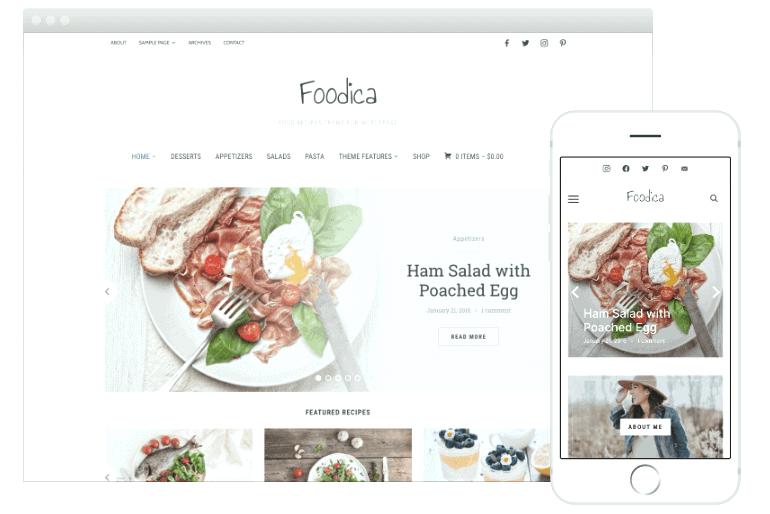 Foodica WordPress theme for food blog