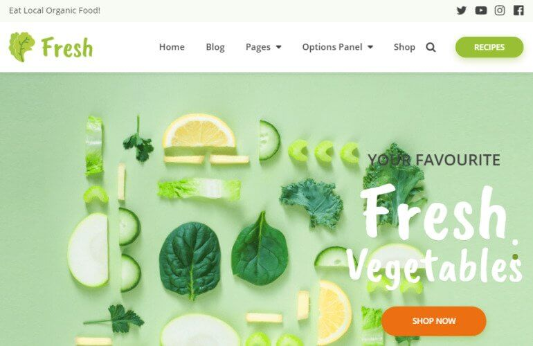 Fresh theme for WordPress recipe blog
