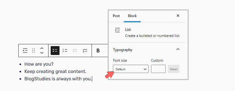 Resizing fonts in list block