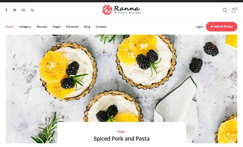 Ranna theme for WordPress recipe blog