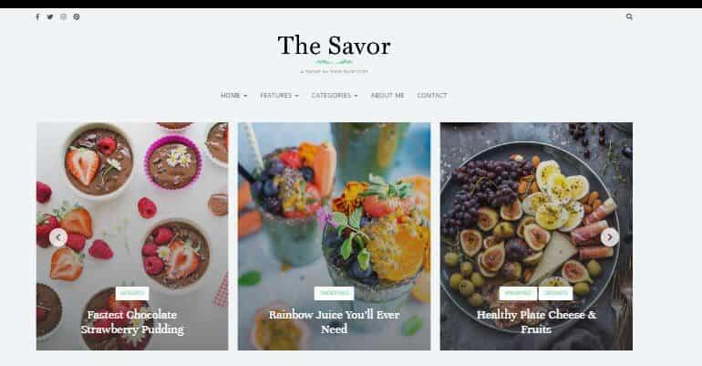 The Savor theme for WordPress recipe blog