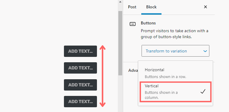 Vertical alignment enabled for button blocks in WordPress 5.7
