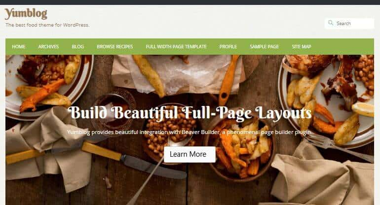 Yumblog theme for WordPress bakery blog